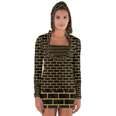 Brick1 Black Marble & Yellow Colored Pencil (r) Long Sleeve Hooded T Shirt
