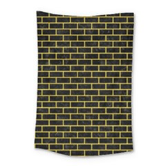Brick1 Black Marble & Yellow Colored Pencil (r) Small Tapestry