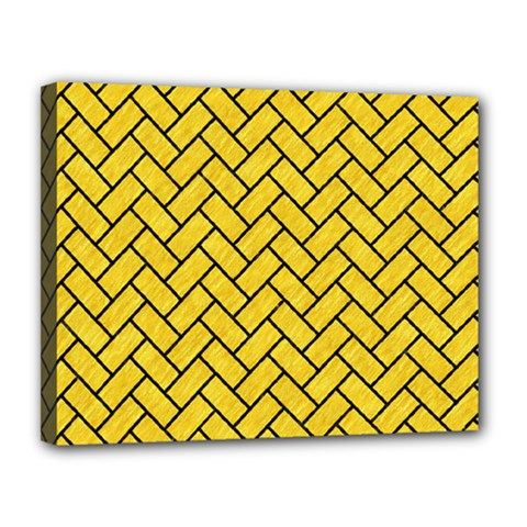 Brick2 Black Marble & Yellow Colored Pencil Canvas 14  X 11