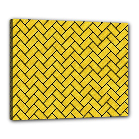 Brick2 Black Marble & Yellow Colored Pencil Canvas 20  X 16