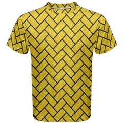 Brick2 Black Marble & Yellow Colored Pencil Men s Cotton Tee