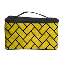 Brick2 Black Marble & Yellow Colored Pencil Cosmetic Storage Case