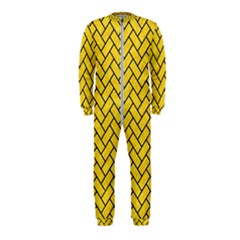 Brick2 Black Marble & Yellow Colored Pencil Onepiece Jumpsuit (kids)