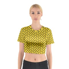 Brick2 Black Marble & Yellow Colored Pencil Cotton Crop Top