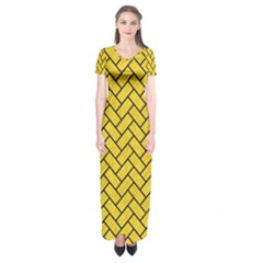 Brick2 Black Marble & Yellow Colored Pencil Short Sleeve Maxi Dress