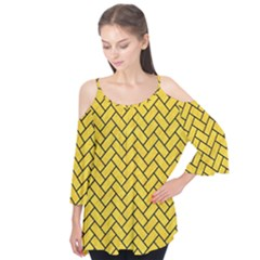 Brick2 Black Marble & Yellow Colored Pencil Flutter Tees