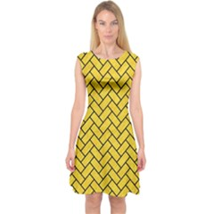 Brick2 Black Marble & Yellow Colored Pencil Capsleeve Midi Dress