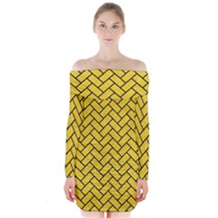 Brick2 Black Marble & Yellow Colored Pencil Long Sleeve Off Shoulder Dress