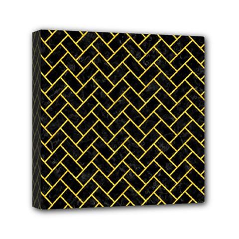 Brick2 Black Marble & Yellow Colored Pencil (r) Mini Canvas 6  X 6