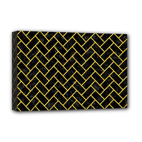 Brick2 Black Marble & Yellow Colored Pencil (r) Deluxe Canvas 18  X 12