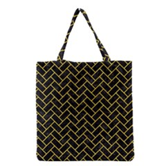 Brick2 Black Marble & Yellow Colored Pencil (r) Grocery Tote Bag