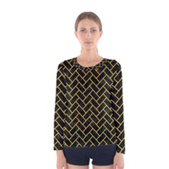 Brick2 Black Marble & Yellow Colored Pencil (r) Women s Long Sleeve Tee