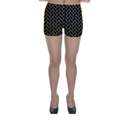 Brick2 Black Marble & Yellow Colored Pencil (r) Skinny Shorts