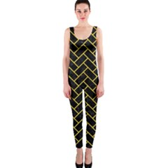 Brick2 Black Marble & Yellow Colored Pencil (r) Onepiece Catsuit