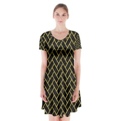 Brick2 Black Marble & Yellow Colored Pencil (r) Short Sleeve V Neck Flare Dress