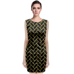 Brick2 Black Marble & Yellow Colored Pencil (r) Classic Sleeveless Midi Dress