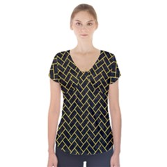 Brick2 Black Marble & Yellow Colored Pencil (r) Short Sleeve Front Detail Top