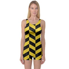 Chevron1 Black Marble & Yellow Colored Pencil One Piece Boyleg Swimsuit