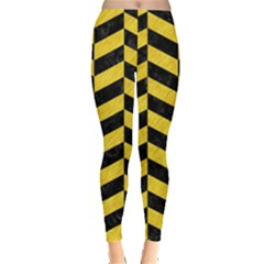 Chevron1 Black Marble & Yellow Colored Pencil Leggings
