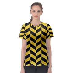 Chevron1 Black Marble & Yellow Colored Pencil Women s Sport Mesh Tee