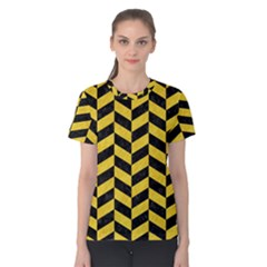 Chevron1 Black Marble & Yellow Colored Pencil Women s Cotton Tee