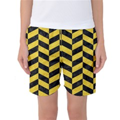 Chevron1 Black Marble & Yellow Colored Pencil Women s Basketball Shorts