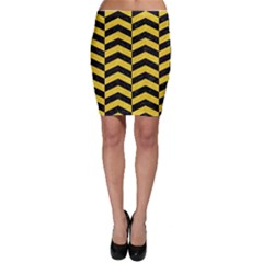 Chevron2 Black Marble & Yellow Colored Pencil Bodycon Skirt