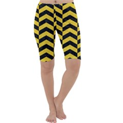 Chevron2 Black Marble & Yellow Colored Pencil Cropped Leggings