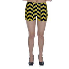 Chevron2 Black Marble & Yellow Colored Pencil Skinny Shorts