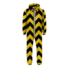Chevron2 Black Marble & Yellow Colored Pencil Hooded Jumpsuit (kids)