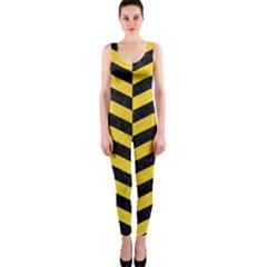 Chevron2 Black Marble & Yellow Colored Pencil Onepiece Catsuit