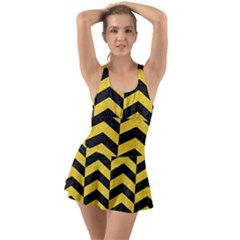 Chevron2 Black Marble & Yellow Colored Pencil Swimsuit