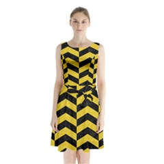 Chevron2 Black Marble & Yellow Colored Pencil Sleeveless Waist Tie Chiffon Dress