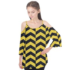 Chevron2 Black Marble & Yellow Colored Pencil Flutter Tees