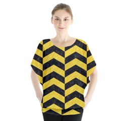 Chevron2 Black Marble & Yellow Colored Pencil Blouse