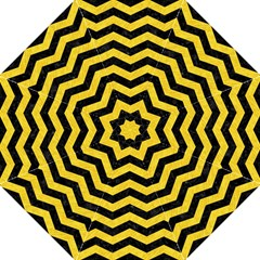 Chevron3 Black Marble & Yellow Colored Pencil Folding Umbrellas