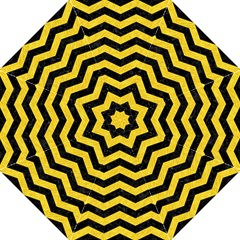Chevron3 Black Marble & Yellow Colored Pencil Straight Umbrellas