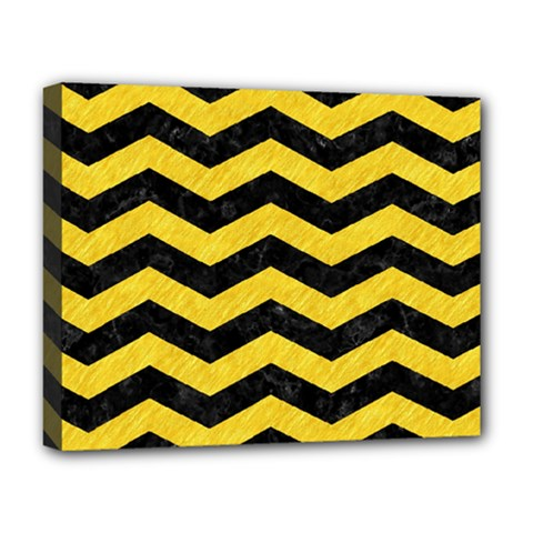 Chevron3 Black Marble & Yellow Colored Pencil Deluxe Canvas 20  X 16