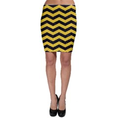 Chevron3 Black Marble & Yellow Colored Pencil Bodycon Skirt