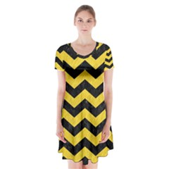 Chevron3 Black Marble & Yellow Colored Pencil Short Sleeve V Neck Flare Dress