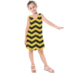 Chevron3 Black Marble & Yellow Colored Pencil Kids  Sleeveless Dress