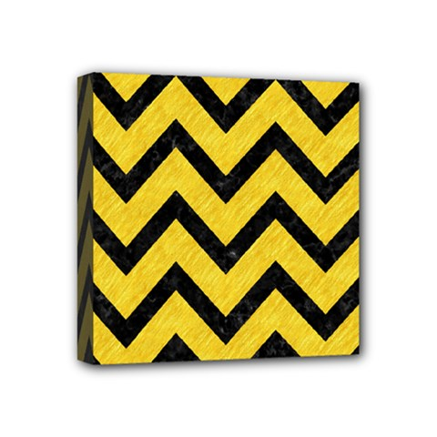 Chevron9 Black Marble & Yellow Colored Pencil Mini Canvas 4  X 4