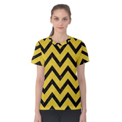 Chevron9 Black Marble & Yellow Colored Pencil Women s Cotton Tee