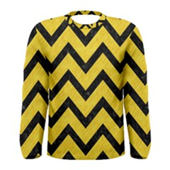 Chevron9 Black Marble & Yellow Colored Pencil Men s Long Sleeve Tee