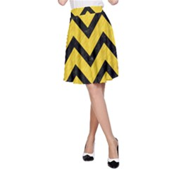 Chevron9 Black Marble & Yellow Colored Pencil A Line Skirt