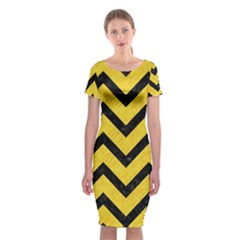 Chevron9 Black Marble & Yellow Colored Pencil Classic Short Sleeve Midi Dress