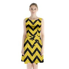 Chevron9 Black Marble & Yellow Colored Pencil Sleeveless Waist Tie Chiffon Dress
