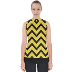 Chevron9 Black Marble & Yellow Colored Pencil Shell Top