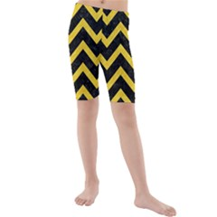 Chevron9 Black Marble & Yellow Colored Pencil (r) Kids  Mid Length Swim Shorts