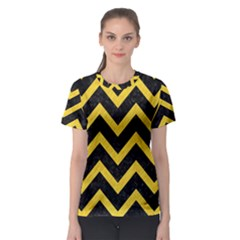 Chevron9 Black Marble & Yellow Colored Pencil (r) Women s Sport Mesh Tee